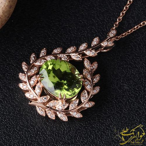 گردننبد زبرجد سبز اصل زنانه طلا