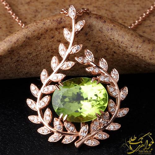 گردننبد طلا و جواهر زنانه با نگین زبرجد اصل و برلیان