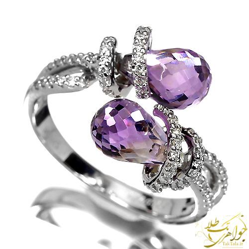 انگشتر آمتیست و برلیان طلا و جواهر زنانه