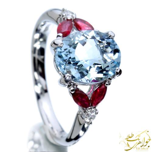 انگشتر آکوامارین طلا و جواهر