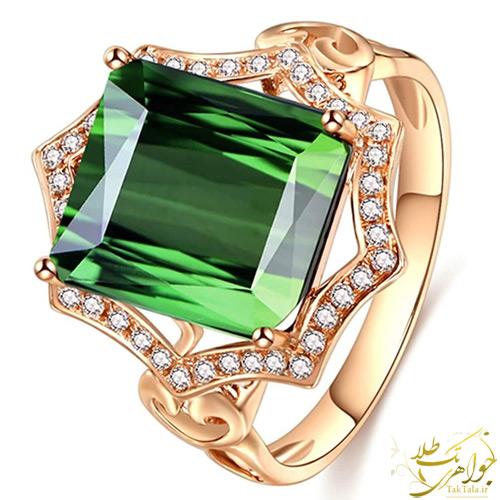 انگشتر تورمالین سبز زنانه طلا و جواهر