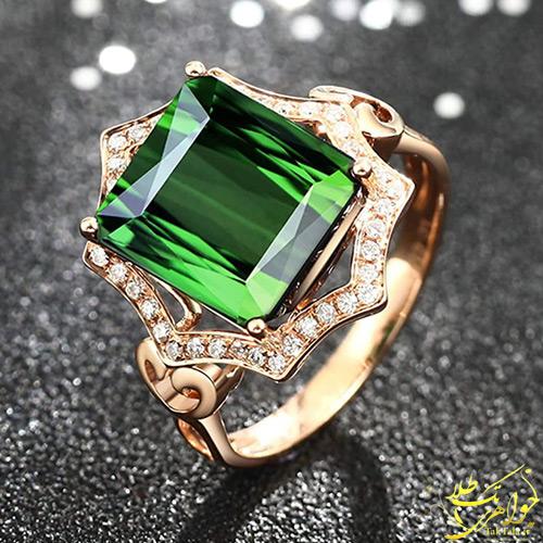 انگشتر تورمالین سبز طلا و جواهر زنانه