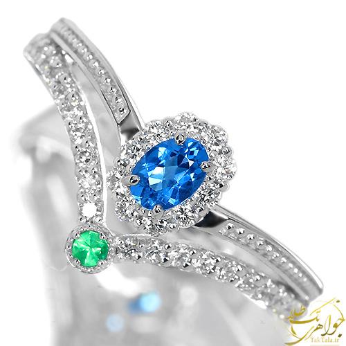 انگشتر توپاز آبی و زمرد طلا و جواهر زنانه