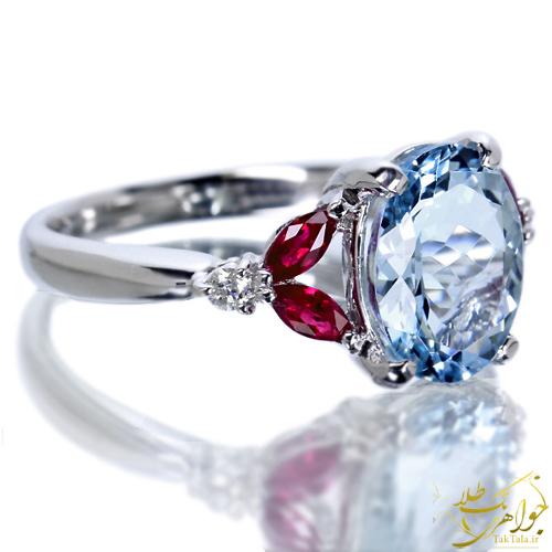 انگشتر طلا زنانه با نگین آکوامارین اصل