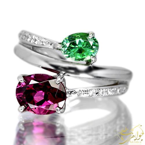 انگشتر جواهر گارنت و زمرد سبز زنانه