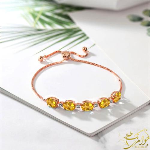 دستبند سیترین و برلیان طلا و جواهر زنانه