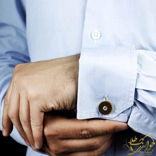 دکمه سر آستین مردانه طلا سنگ اونیکس مشکی اصل و یاقوت کبود