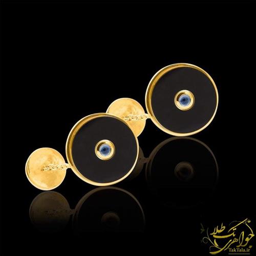 دکمه سر آستین مردانه طلا ا سنگ اونیکس سیاه و یاقوت کبود