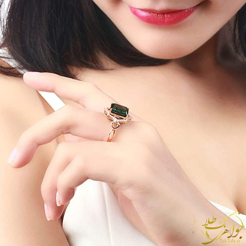 مدل انگشتر تورمالین سبز زنانه طلا و جواهر