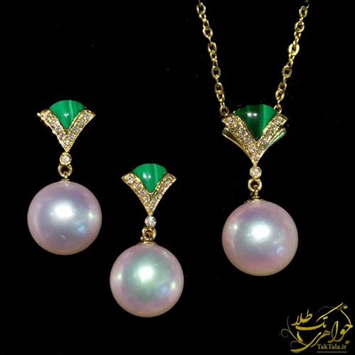 نیم ست مروارید اصل طلا و جواهر با سنگ مالاکیت و برلیان