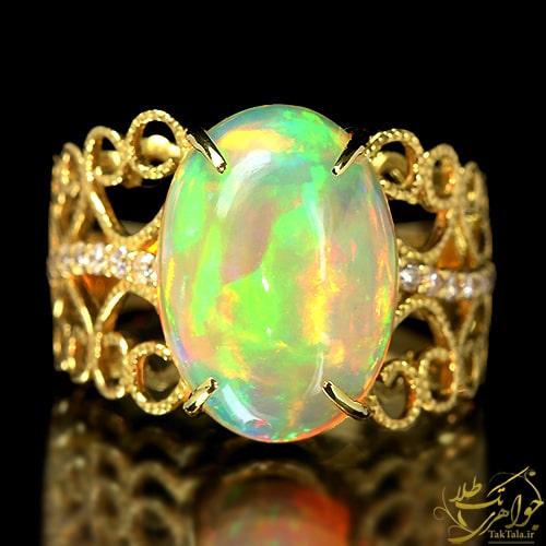 انگشتر اوپال طلا و جواهر زنانه