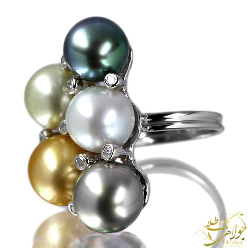 انگشتر زنانه مروارید اصل و برلیان و مروارید های سفید، طلایی، طوسی و سبز