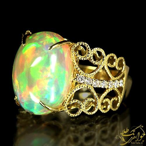 انگشتر طلا و جواهر زنانه با نگین اوپال و برلیان