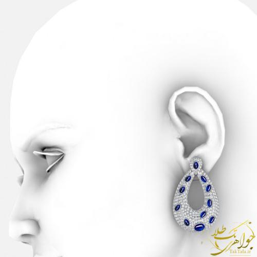 مدل گوشواره یاقوت کبود اصل و برلیان