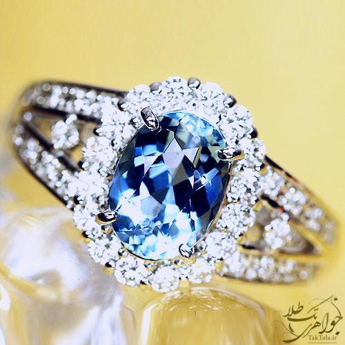 انگشتر آکوامارین طلاسفید و الماس تراش برلیان