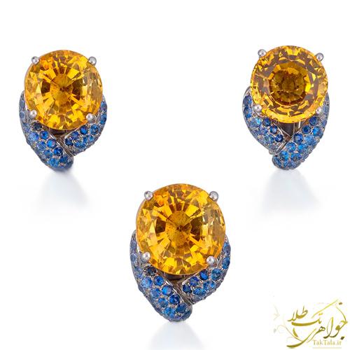 نیم ست سیترین طلا و جواهر یاقوت کبود زنانه