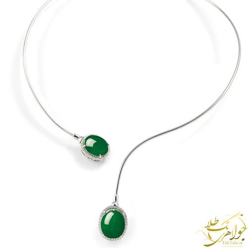 گردنبند عقیق سبز طلا سفید طوقی