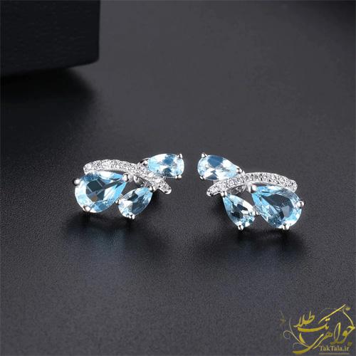 گوشواره توپاز آبی طلا و جواهر زنانه