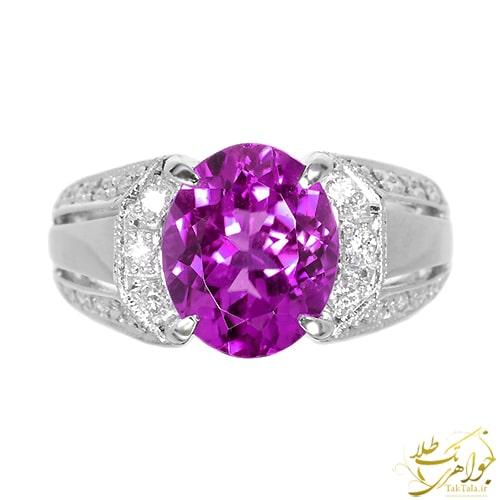 انگشتر آماتیست بنفش و الماس تراش برلیان زنانه