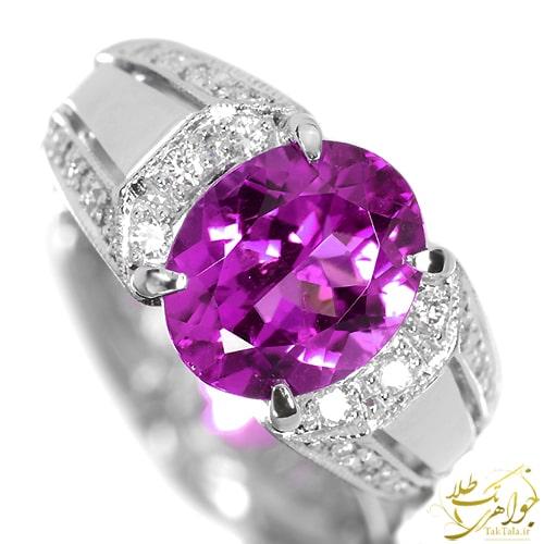 انگشتر آمتیست و برلیان زنانه طلا و جواهر