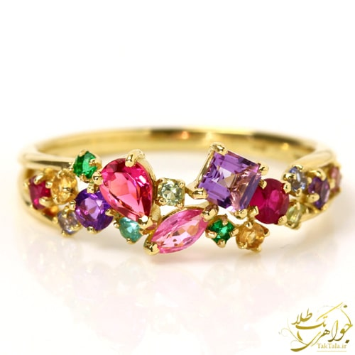 انگشتر چند نگین زنانه طلا و جواهر