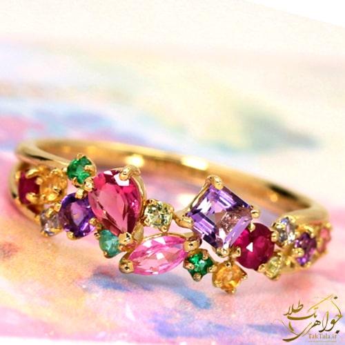 انگشتر زنانه رنگارنگ زنانه طلا و جواهر