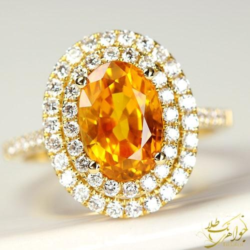 انگشتر جواهر یاقوت زرد و برلیان
