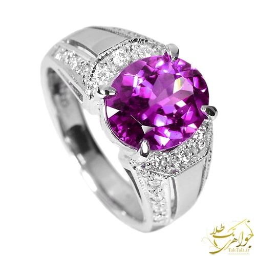 انگشتر طلا و جواهر زنانه با نگین آمتیست و بریان