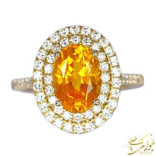 انگشتر یاقوت زرد اصل زنانه و برلیان