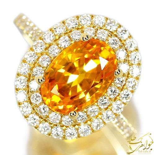 انگشتر طلا زنانه با نگین یاقوت زرد و برلیان