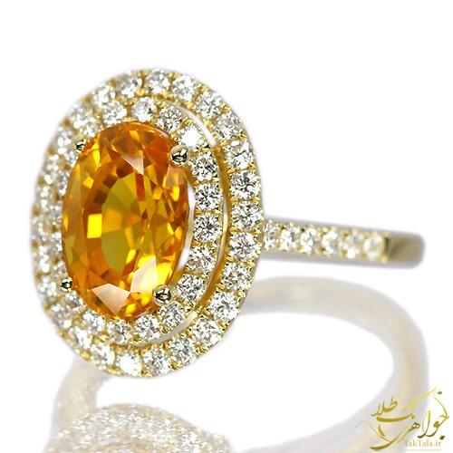 عکس انگشتر یاقوت زرد زنانه طلا
