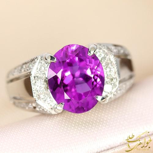 مدل انگشتر آمتیست اصل و الماس تراش برلیان