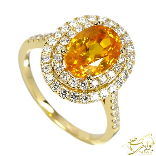 مدل انگشتر یاقوت زرد زنانه طلا و جواهر