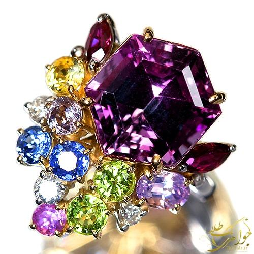 انگشتر آمتیست زنانه طلا و جواهر