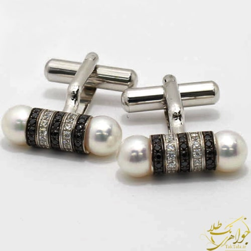 دکمه سر آستین طلا و جواهر مردانه با نگین مروارید اصل و برلیان