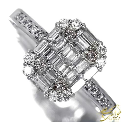 انگشتر برلیان باگت زنانه طلا و جواهر