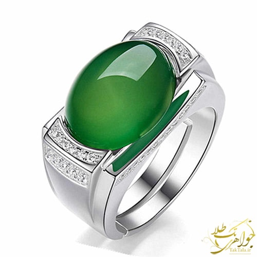 انگشتر عقیق سبز مردانه و پلاتین و طلا سفید