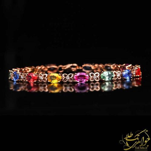 دستبند طلا و جواهر زنانه مولتی کالر