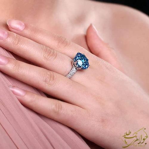 مدل انگشتر توپاز آبی زنانه