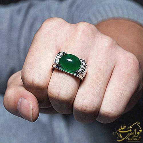مدل انگشتر عقیق سبز پلاتین مردانه