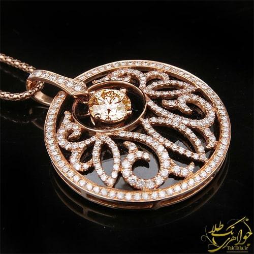 گردنبند اونیکس و برلیان زنانه طلا و جواهر