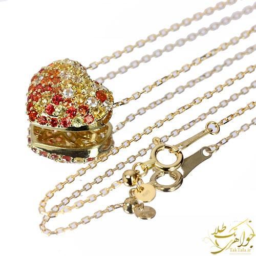 گردنبند طلا قلبی یاقوت زرد و یاقوت سرخ طلا و جواهر