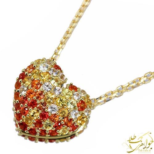 گردنبند قلبی زنانه طلا و جواهر یاقوت