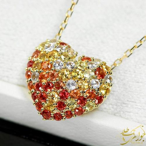 گردنبند یاقوت زرد و سرخ قلبی زنانه طلا و جواهر