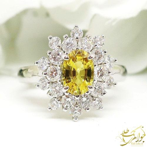 انگشتر طلا یاقوت زرد زنانه و برلیان