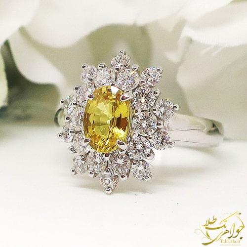 انگشتر یاقوت زرد اصل و برلیان زنانه