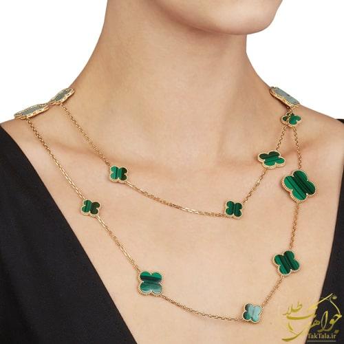 گردنبند طلا و سنگ نالاکیت سبز طرح ونکلیف