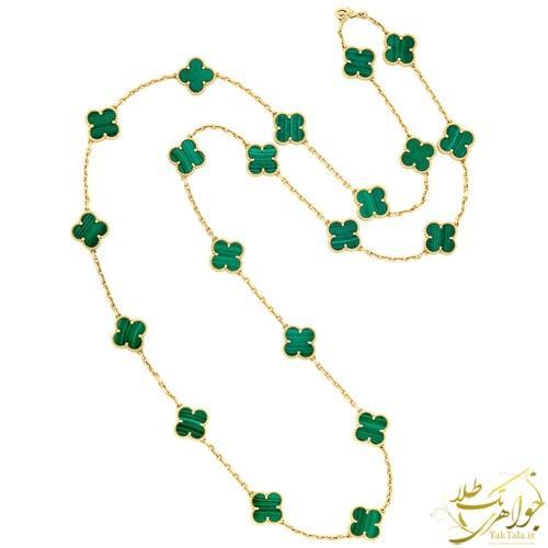 گردنبند ونکلیفی طلا با سنگ مالاکیت