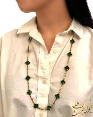 گردننبد طلا زنانه مدل ونکلیف با سنگ مالاکیت