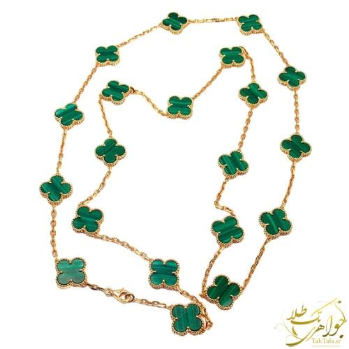 گردنبند ونکلیف طلا با سنگ مالاکیت